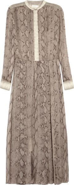 Chloé Snake Print Pleated Silk Georgette Dress - Lyst