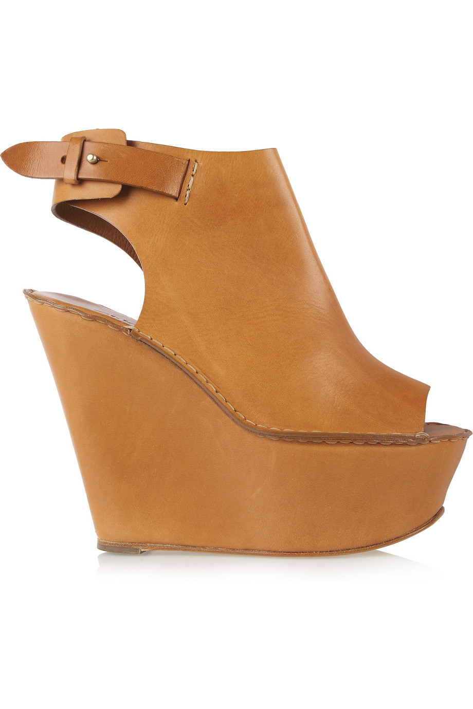 Chlo 233 Peep Toe Leather Wedges In Brown Lyst