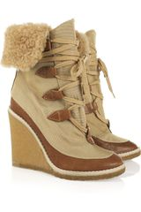 Chloé Canvas and Leather Wedge Ankle Boots - Lyst