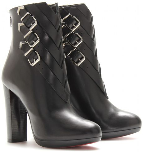 Christian Louboutin Troop 120 Leather Boots with Buckle Detail in Black