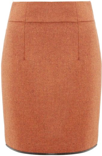 Commuun Orange Tweed Wool Skirt - Lyst