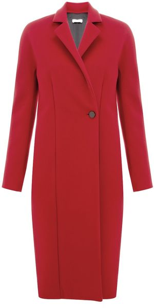 Commuun Red Single Breasted Coat in Red - Lyst