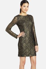 Cynthia Steffe Lydia Metallic Illusion Sleeve Lace Dress - Lyst