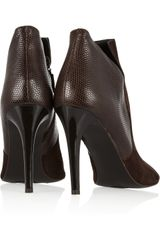 Diane Von Furstenberg Ali Suede and Texturedleather Ankle Boots in Brown - Lyst