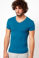 Emporio Armani Eagle Stretch Cotton Vneck Tshirt - Lyst