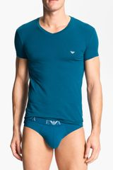 Emporio Armani Basic Vneck Stretch Cotton Tshirt - Lyst