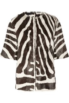 Giambattista Valli Reversible Zebra Print Goat Hair Coat - Lyst