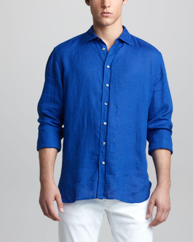 Giorgio armani longsleeve linen shirt in blue for men for Mens light blue linen shirt