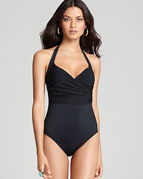 Gottex Beach Goddess Halter Surplice One Piece Swimsuit in Black - Lyst