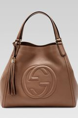 Gucci Soho Leather Shoulder Bag Brown - Lyst
