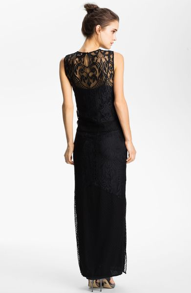 Juicy Couture Dot Floral Lace Combo Maxi Dress In Black
