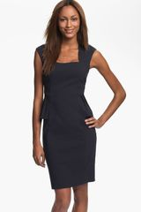 Kay Unger Cap Sleeve Side Peplum Woven Dress - Lyst