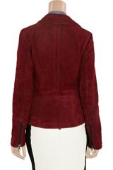Lot78 Zoe Suede Biker Jacket in Red (merlot) - Lyst
