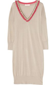 Matthew Williamson Embellished Fineknit Silk Sweater Dress - Lyst