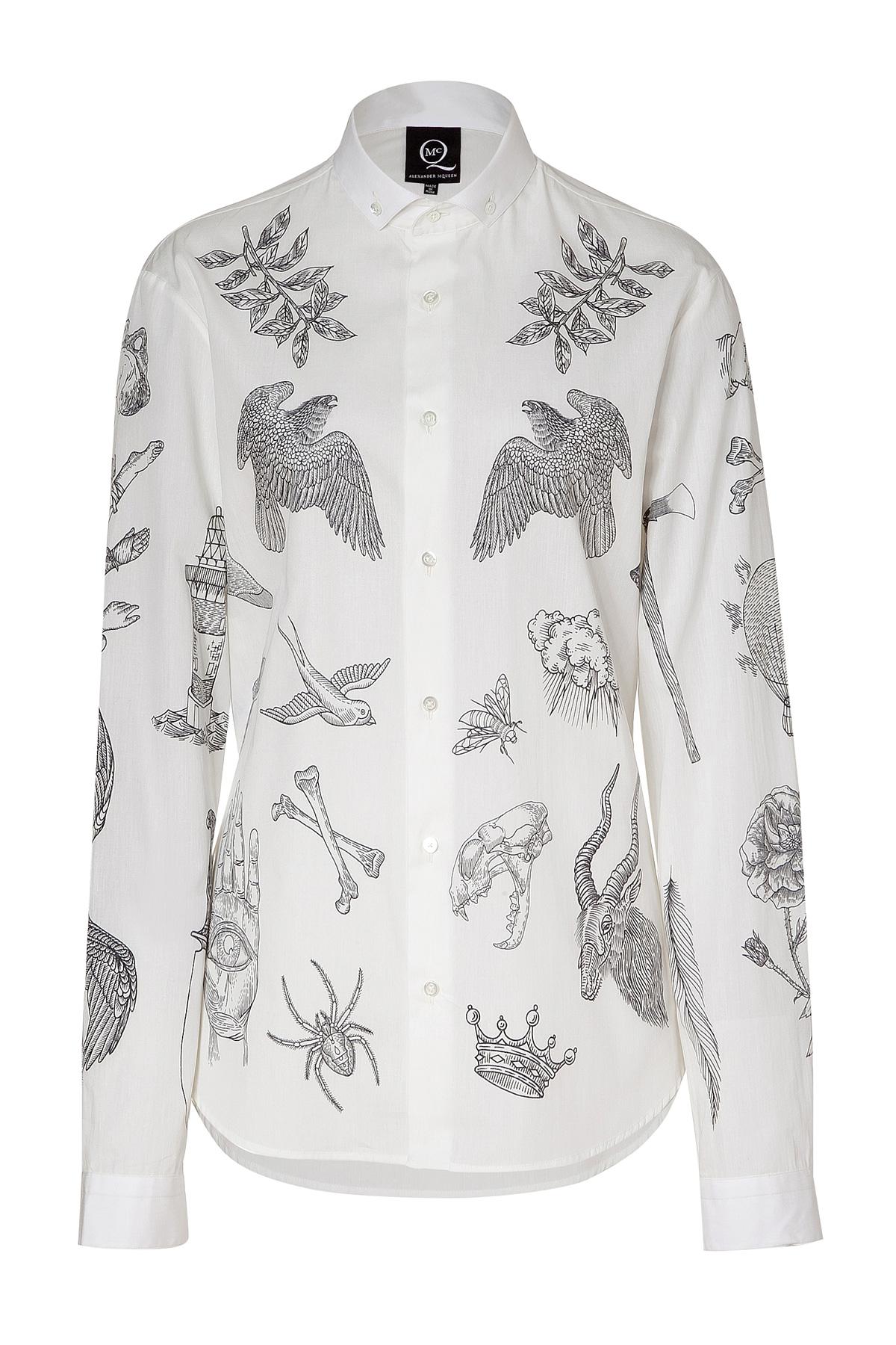 Lyst mcq soft white tattoo print cotton shirt in white for Soft cotton dress shirts