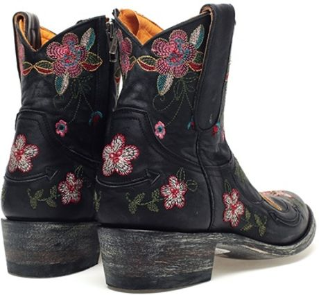 Mexicana Bonnie Embroidered Leather Cowboy Boots In Black