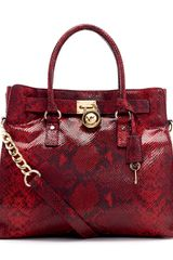 Michael by Michael Kors Large Hamilton Pythonembossed Tote - Lyst