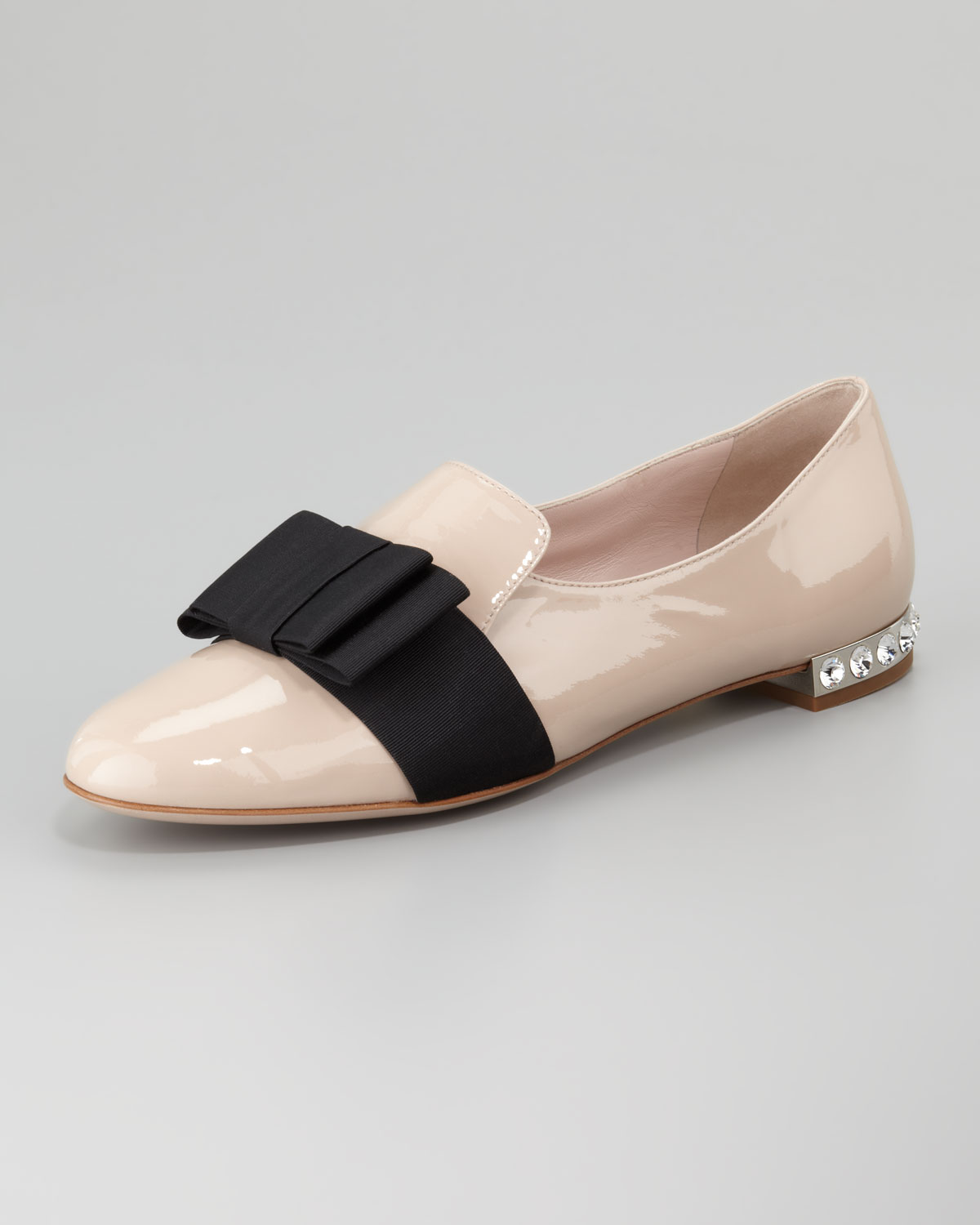 5b37fb61033 Lyst - Miu Miu Patent Leather Bow Loafer in Pink