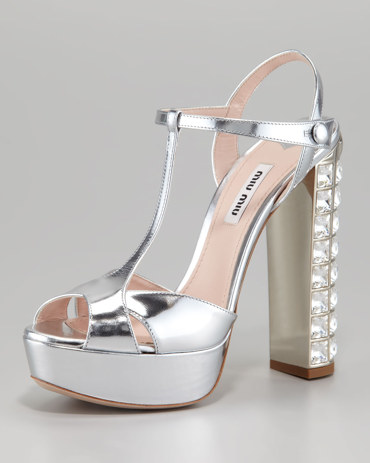 a198ff2744b Lyst - Miu Miu Jeweled Heel Sandal in Metallic