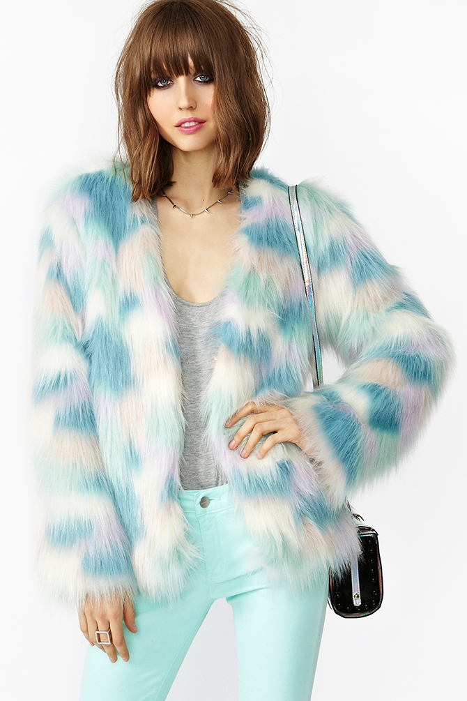Nasty Gal Fantasy Faux Fur Coat In Blue Lyst