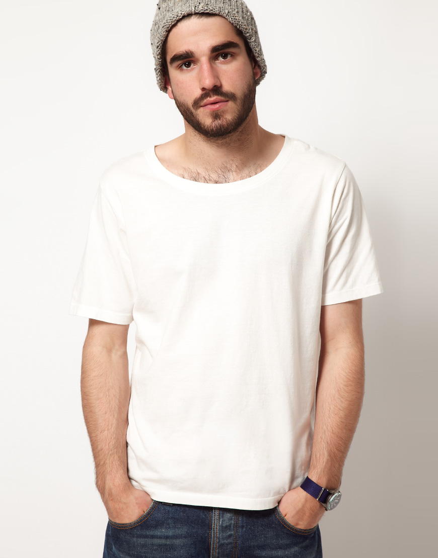nudie jeans wide neck tshirt in white for men lyst
