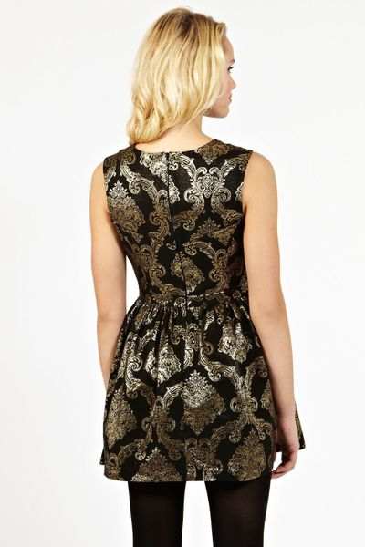 Oasis Baroque Jacquard Dress In Gold Multi Coloured Lyst