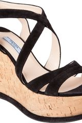 Prada Cork Wedge Sandal - Lyst