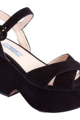 Prada Square Toe Wedge Sandal - Lyst