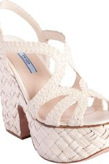 Prada Woven Platform Cut Out Wedge - Lyst