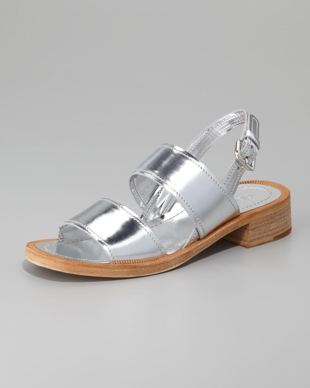 e2bfd13364f Lyst - Prada Metallic Double Banded Sandal in Metallic