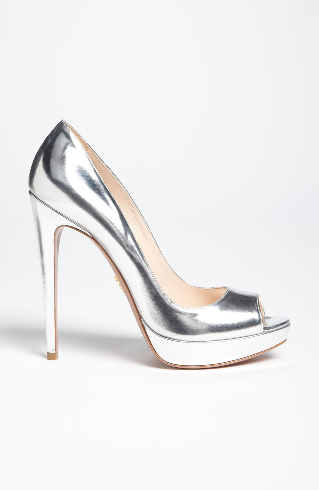 Shoeniverse: Silver liquid metal peep toe by Prada