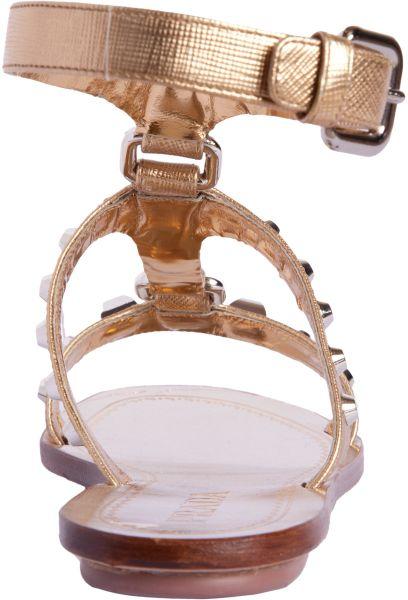 Prada Studded Gladiator Sandal In Silver Lyst