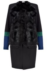 Preen Black Sheepskin Zora Coat - Lyst