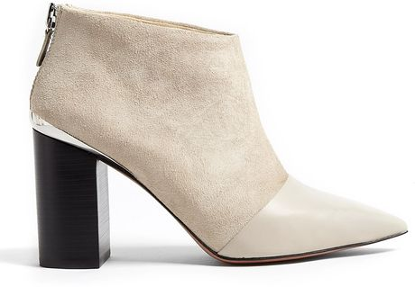 See By Chloé Opale Leather Pointed Toe Suede Ankle Boots in Beige