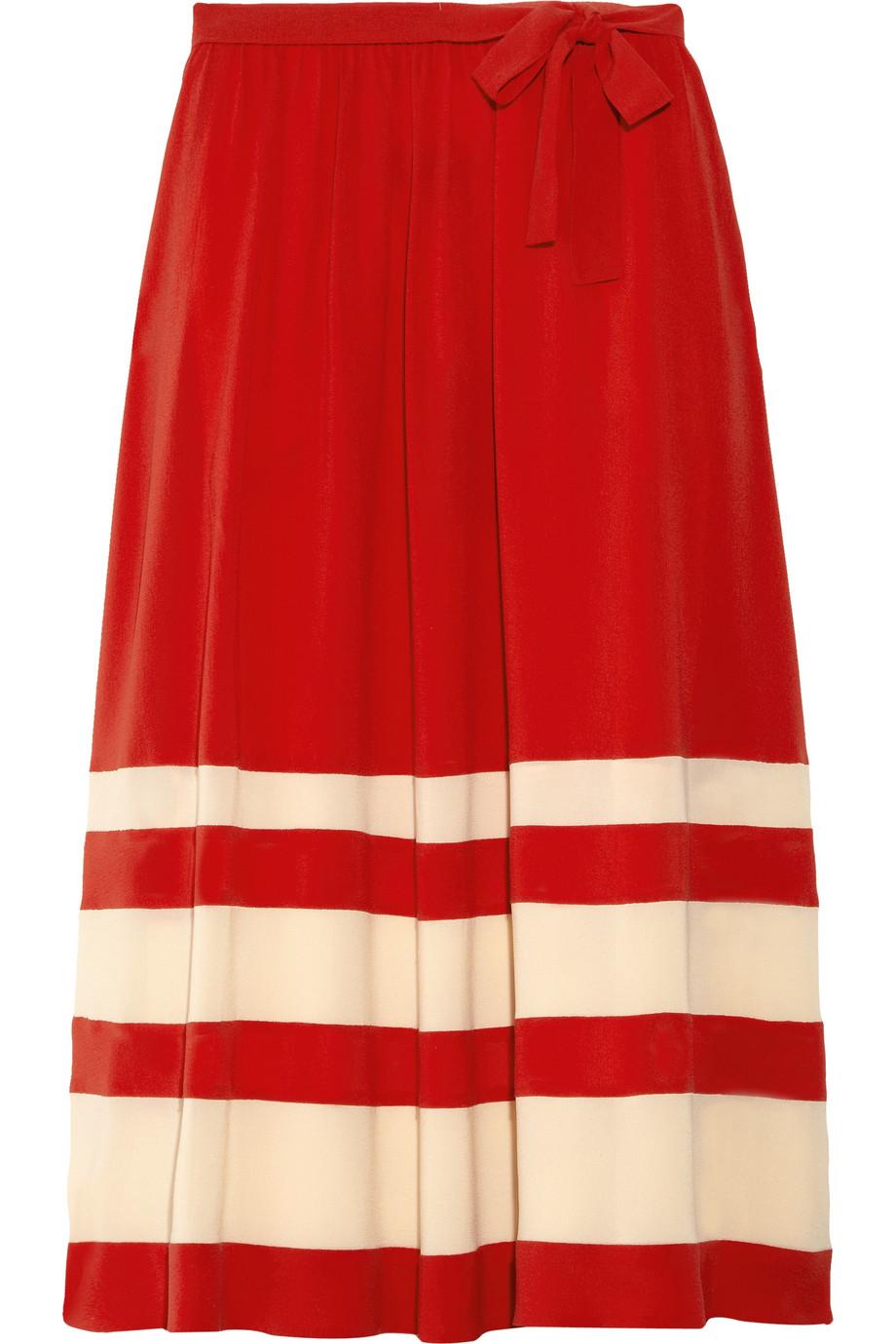 rykiel striped silk crepe midi skirt in lyst