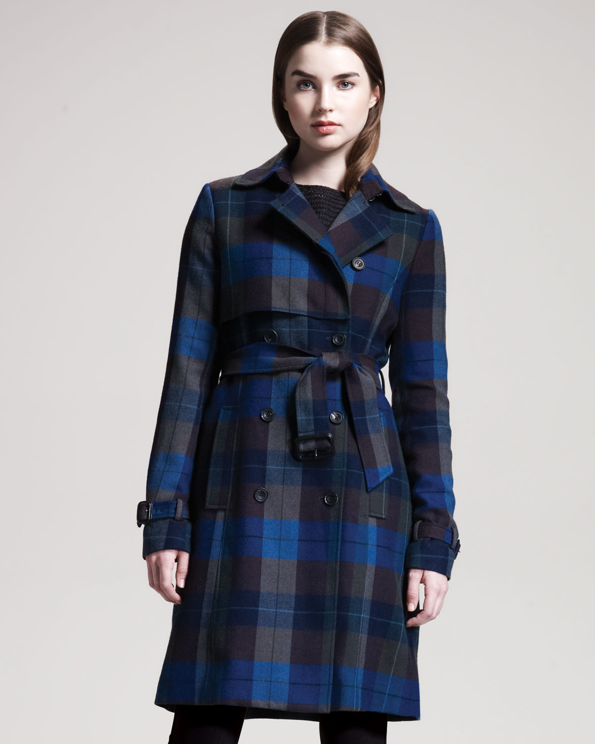 Theory Giora Plaid Trenchcoat in Blue | Lyst