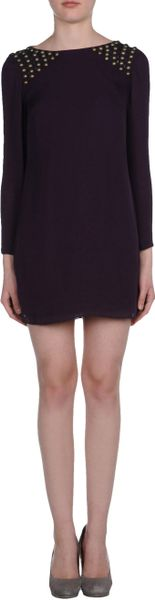 Tibi Short Dress in Black (purple) - Lyst