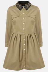 Topshop Studded Collar Shirt Dress - Lyst