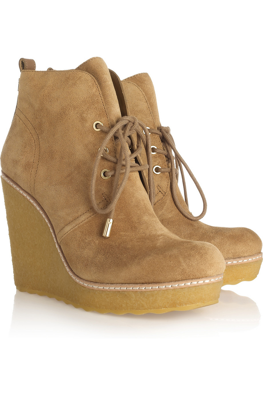 Tory Burch Denise Suede Wedge Boots In Beige Camel Lyst