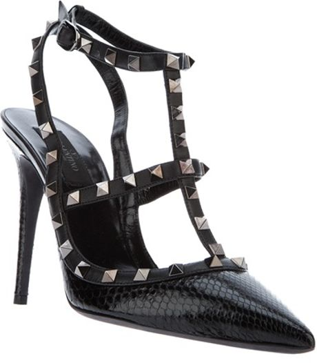 Valentino Studded Sling Back Pump in Black - Lyst