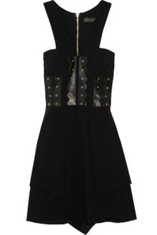 Versace Leatherpaneled Cady Dress - Lyst