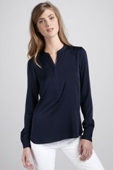 Vince Silk Zip Placket Top - Lyst