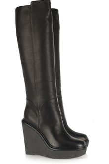 Yves Saint Laurent Leather Wedge Knee Boots - Lyst