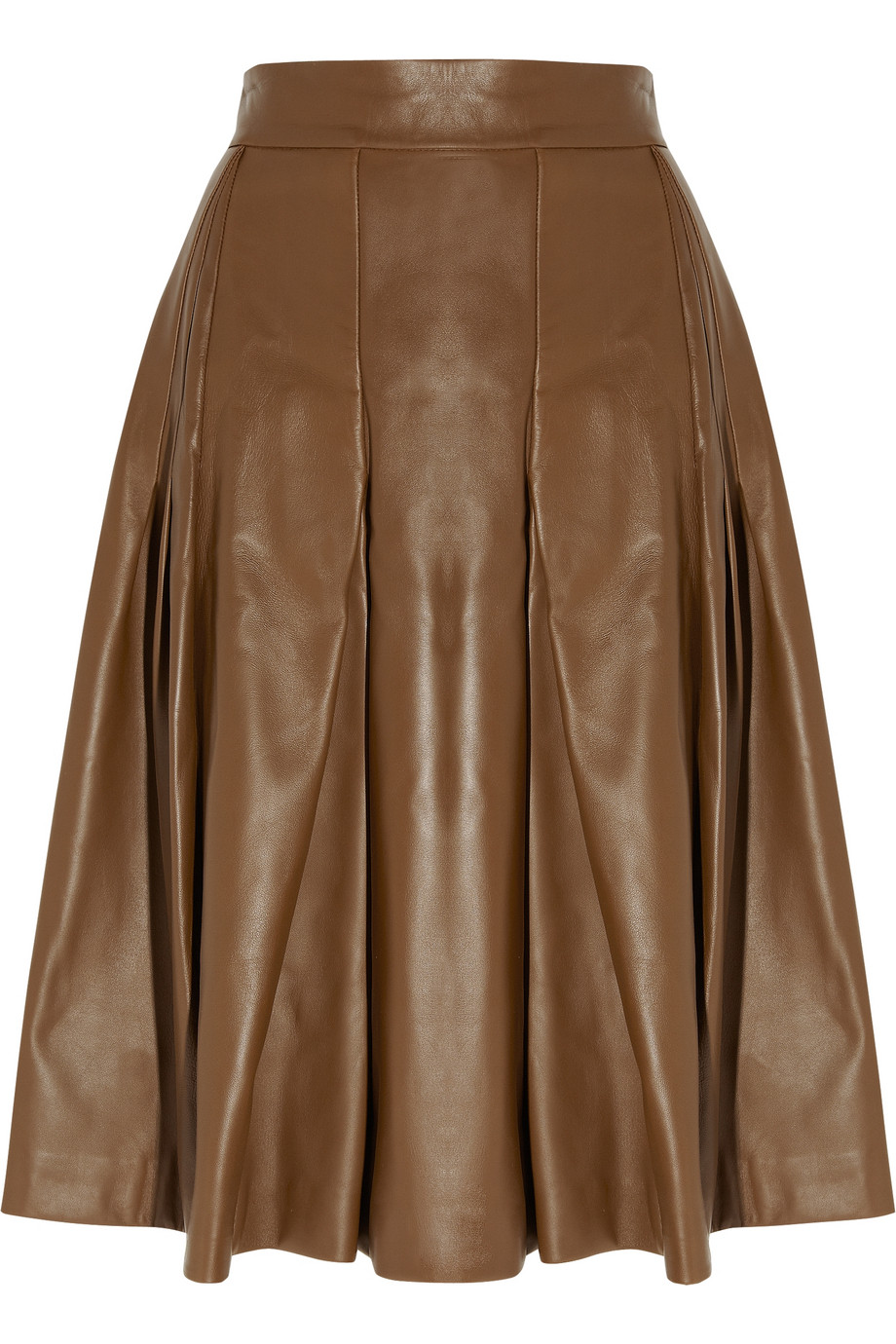 Saint laurent Leather A-line Skirt in Brown | Lyst