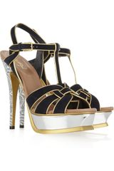 Saint Laurent Tribute Suede and Metallic Sandals - Lyst