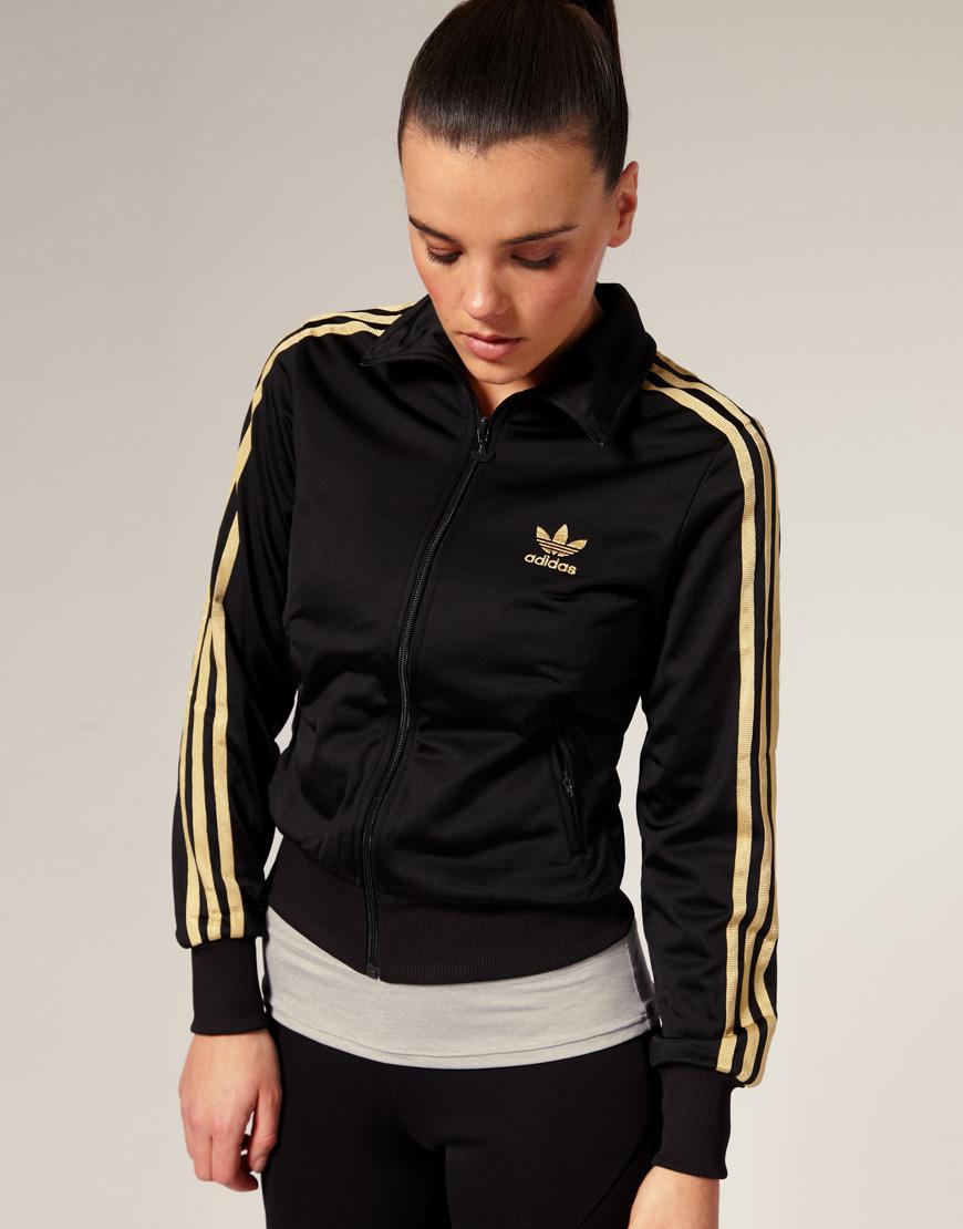 Adidas Gold Stripe Classic Track Jacket in Black | Lyst