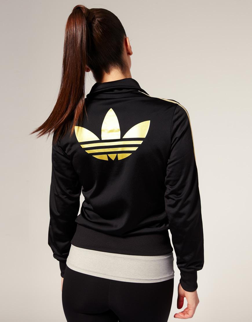 779f5674c4 Lyst - adidas Gold Stripe Classic Track Jacket in Black