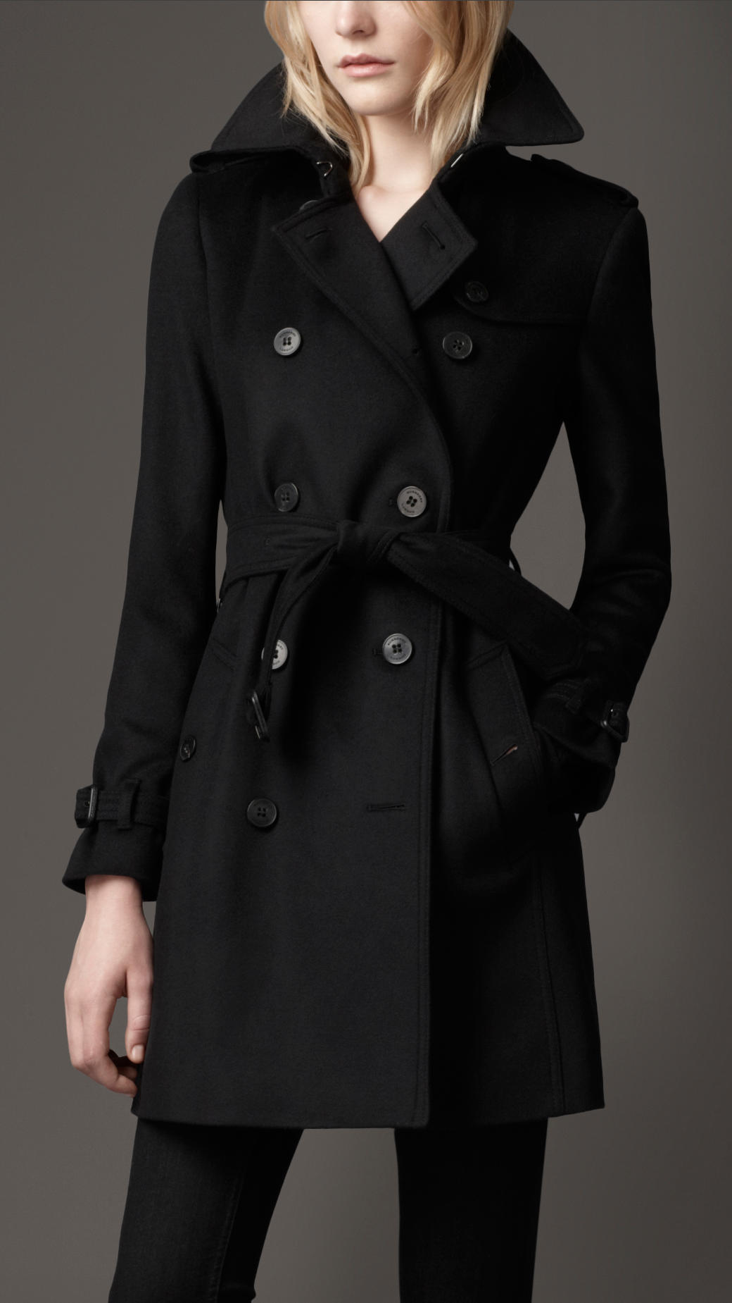 Burberry Midlength Wool Cashmere Trench Coat in Black | Lyst