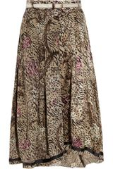 Preen Line Sasha Printed Silk Satin and Georgette Skirt - Lyst