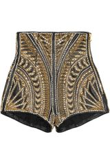 Balmain Embellished Leather Shorts in Gold - Lyst